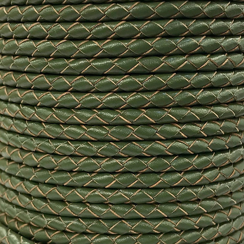 Braided Leather Cord 4mm - Olive Green