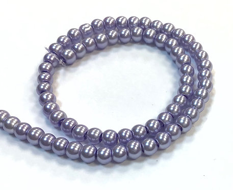 Glass Pearl Beads, Lilac - 4mm