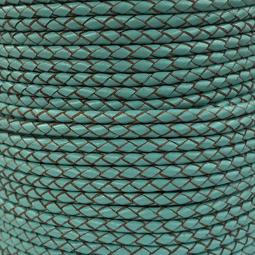 Braided Leather Cord 3mm - Turquoise