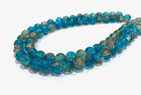 Turquoise crackle glass beads 8mm