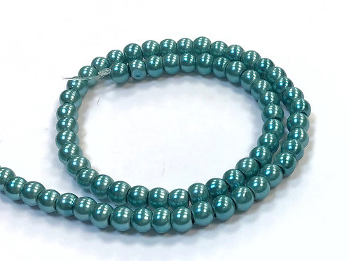 Glass Pearl Beads, Teal - 4mm