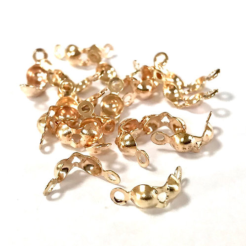 Clam Shell Calottes -  Light Gold Plated