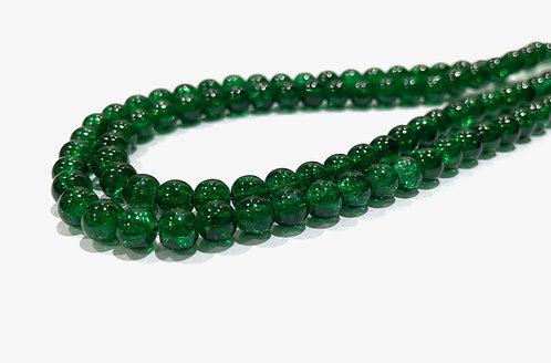 green crackle glass beads 8mm