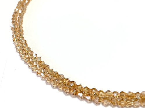 crystal glass champagne AB bicone beads 4mm