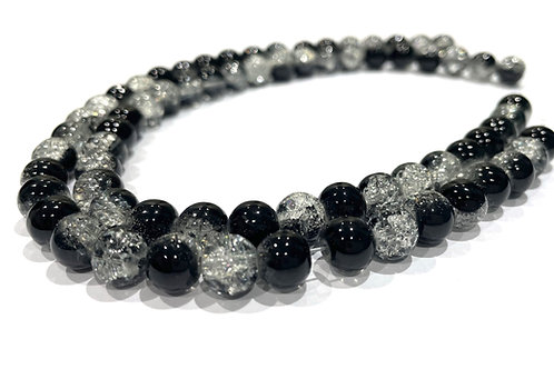 black/clear crackle glass beads 8mm
