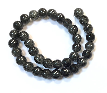 Crackle Glass Beads, Black - 8mm