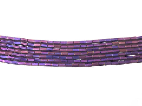 5x3mm Hematite Hexagonal Beads - Matte Purple
