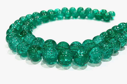 green crackle glass beads 10mm