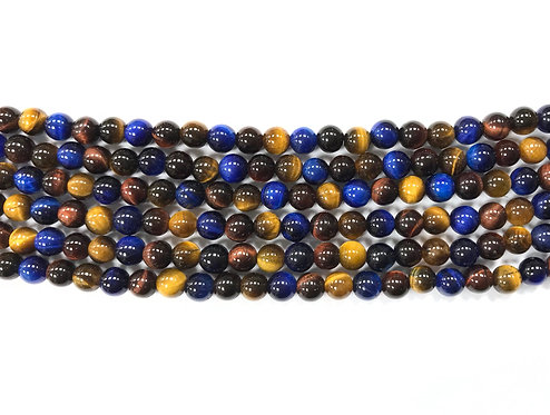 6mm Tigers Eye Beads - Blue Mix