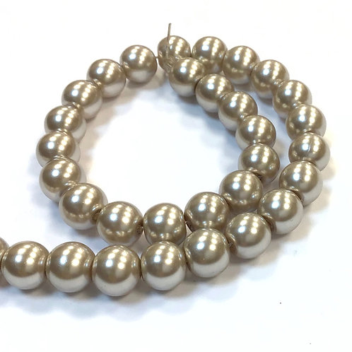 Glass Pearl Beads, Latte - 8mm