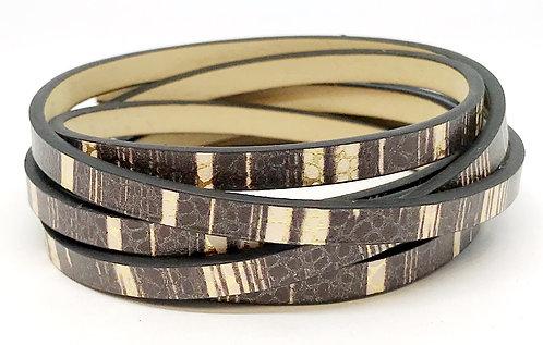 Flat Cord 5 x 2mm - Brown Stripe