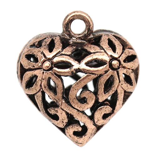 Mini Hollow Heart - Copper