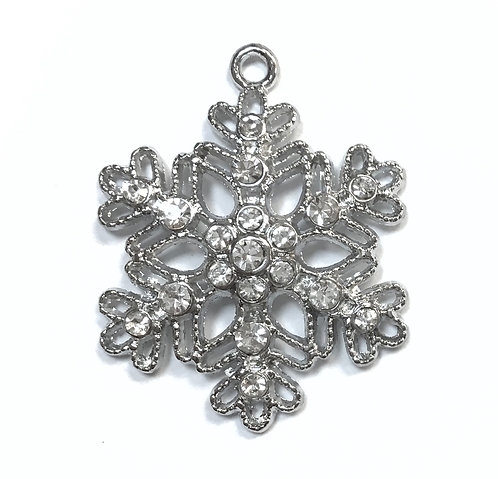 Snowflake with Rhinestones - Silver