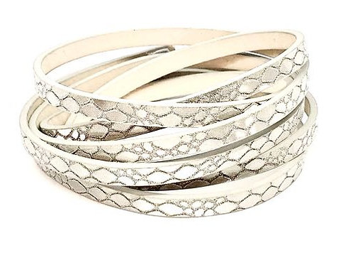 Flat Cord 5 x 2mm - Sparkly Silver Snakeskin