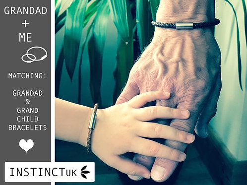 GRANDAD + ME  - Matching Leather Bracelets for Grandad and Grandchildren