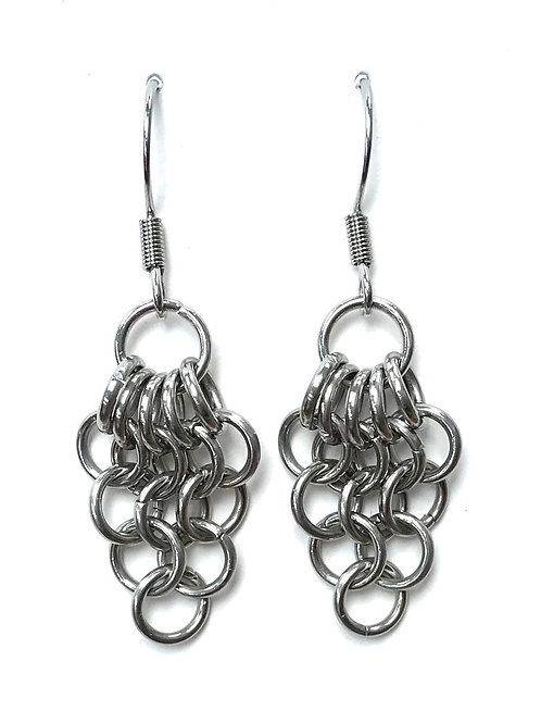 handmade small chain maille earrings