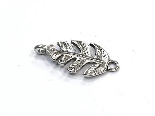 Leaf Connector/Link, Silver Tone