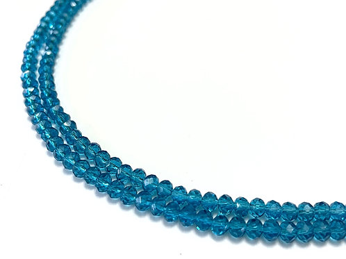 crystal glass turquoise rondelle beads 4mm