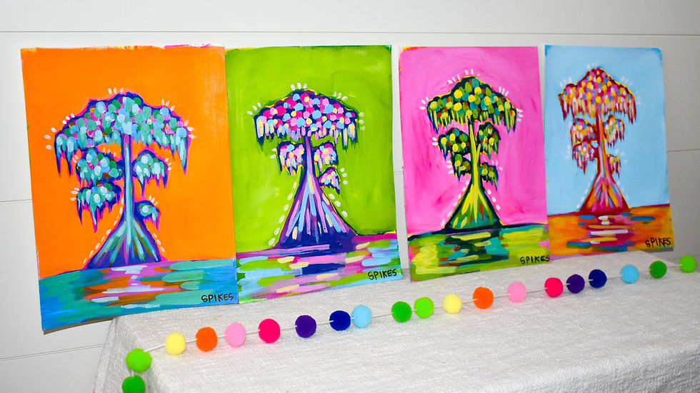 Colorful Cypress Paintings (set of 4)