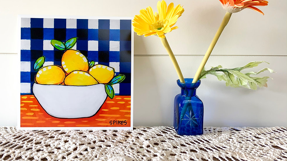 Lemons Gingham Print