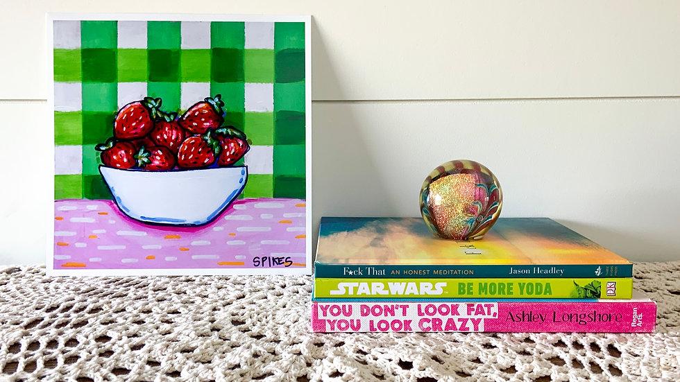 Strawberries Gingham Print