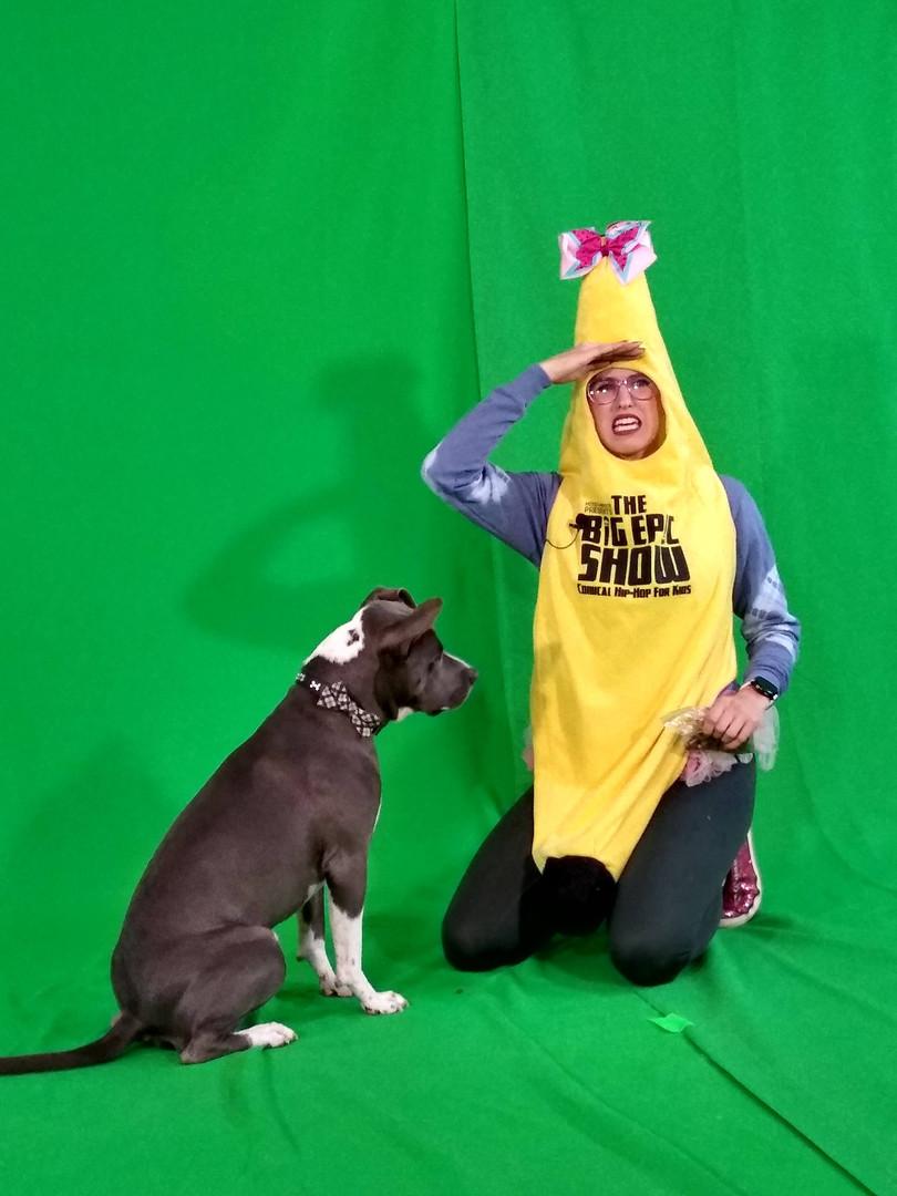 Banana Girl and Titan on Set