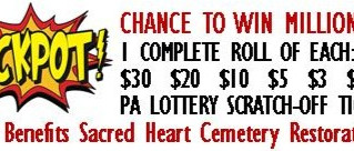 July 4 - Lottery Scratch-Off for Sacred Heart Cemetery Restoration