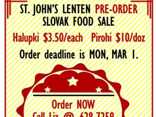Mar. 13 - Slovak Pre-order Food Sale (Mar. 1 Deadline)