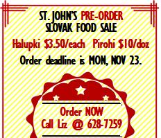 Dec 5 - Slovak Food Sale (pre-order by Nov 23)