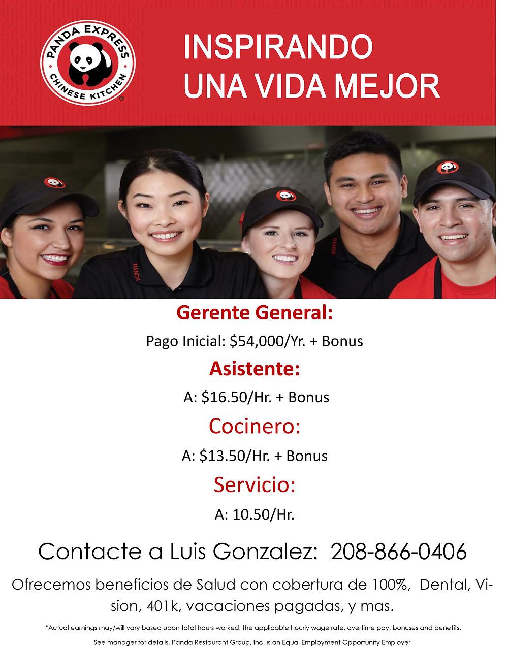 Panda express sigue contratando personal para trabajar. LLama a Luis Gonzalez a 208-866-0406