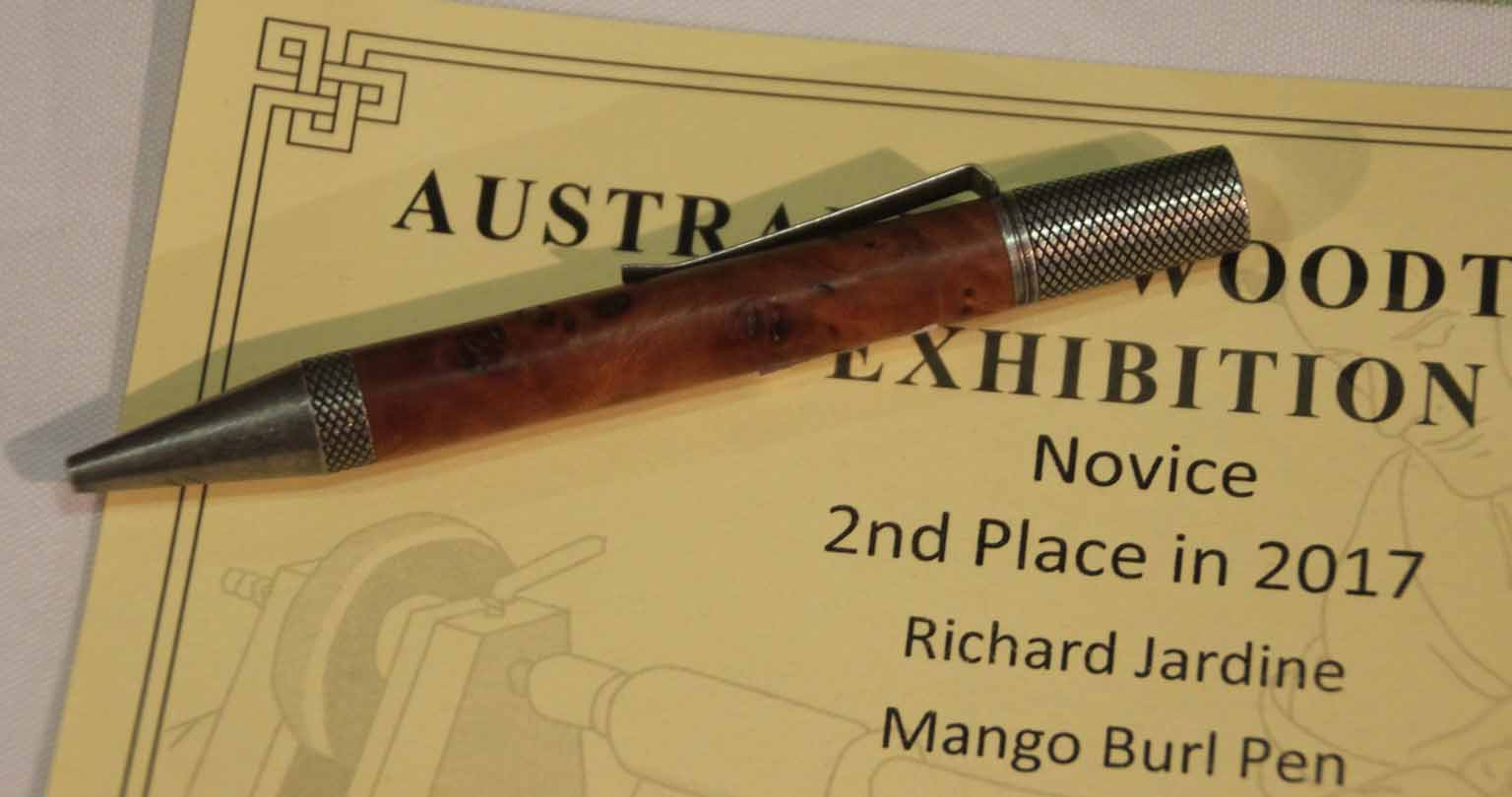 Richard Jardine 2nd place Pen, Mango Burl, Natural oil finish