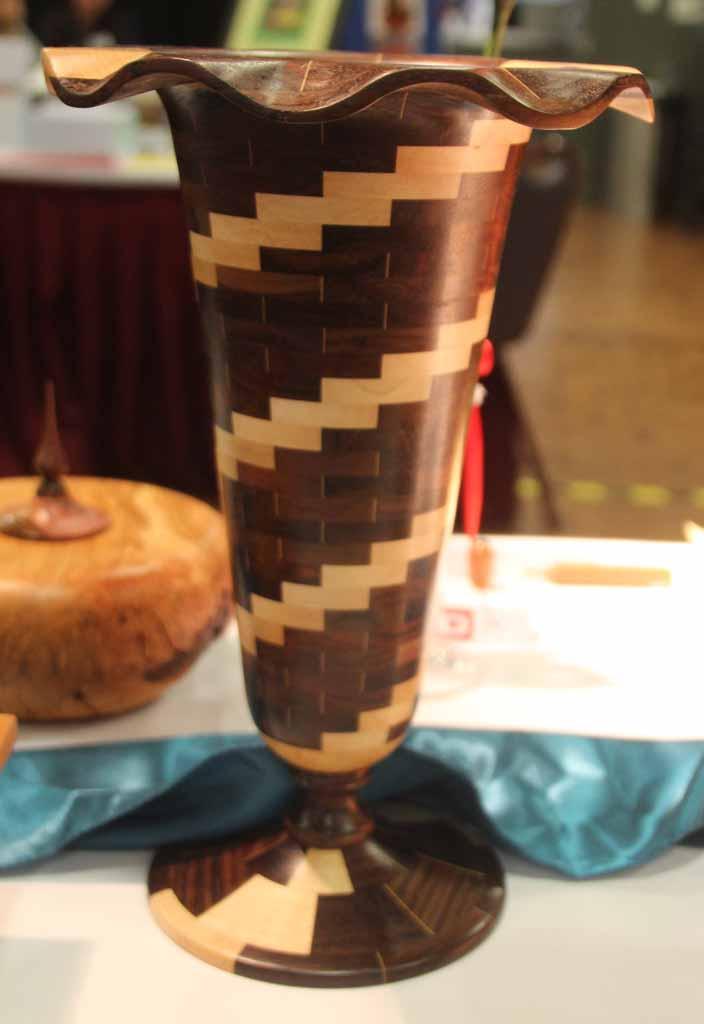 Cliff Walsh Carved Laminated Vase, Indian Rosewood, Acrylic finish
