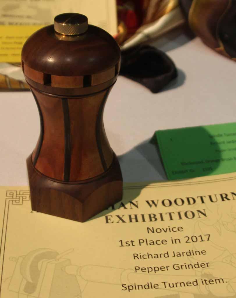 Richard Jardine 1st Place Spindle Turned Item, BlackwoodOrange Brush Box, Danish oil