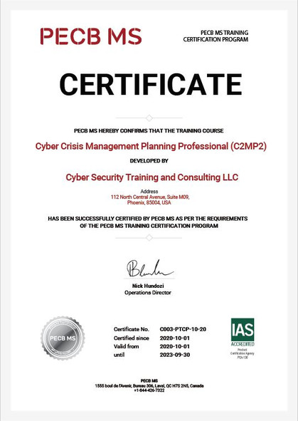 C2MP2 Earns PECB MS Certificate