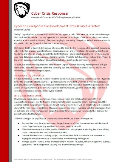 How to Build a Cyber Crisis Management Plan: Critical Success Factors