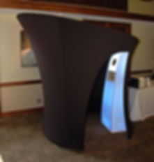 Black convertible photo booth at birthday party.  Photo booth rentals.