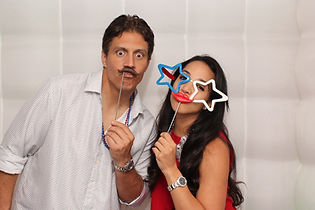 photo booth picture with red lips & mustache