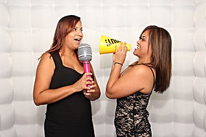 Singing and shouting in the photo booth