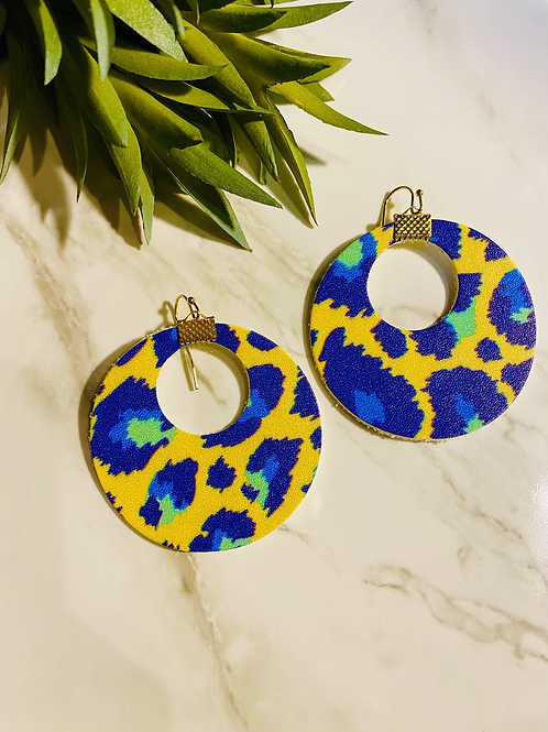Bright leopard hoops