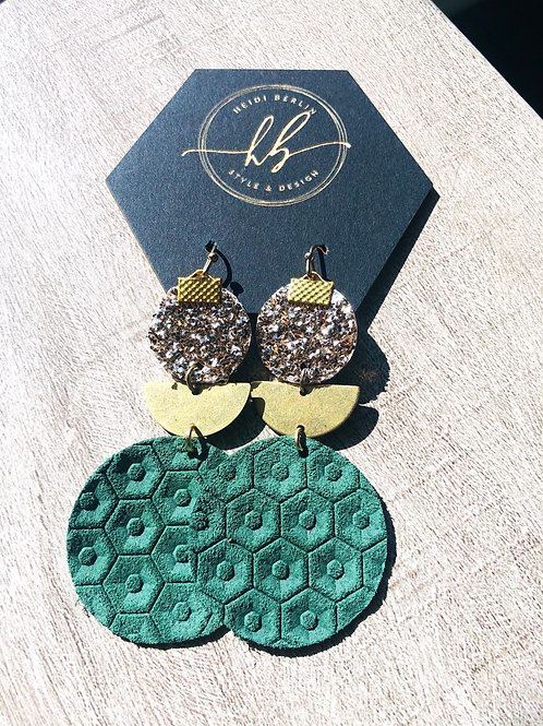 Rose gold, vintage gold and green circles