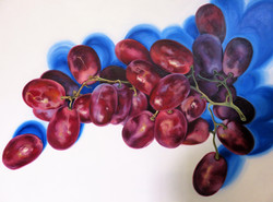 """Red Grapes, 40""""x30"""", Oil on Canvas"""