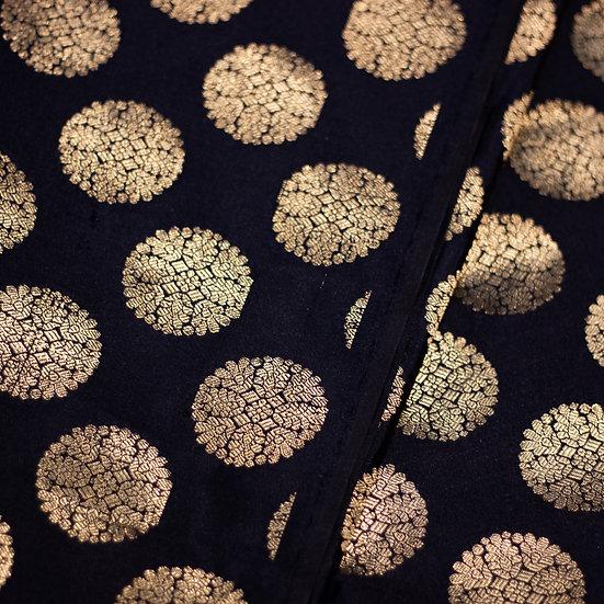MSP Black Broket Mottives Silk Fabric