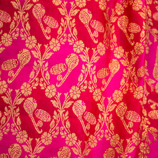 MSP Multi Colour Red Kalamkari Silk Fabric