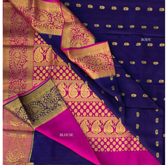 Floral motifs navy blue with contrast rich pallu