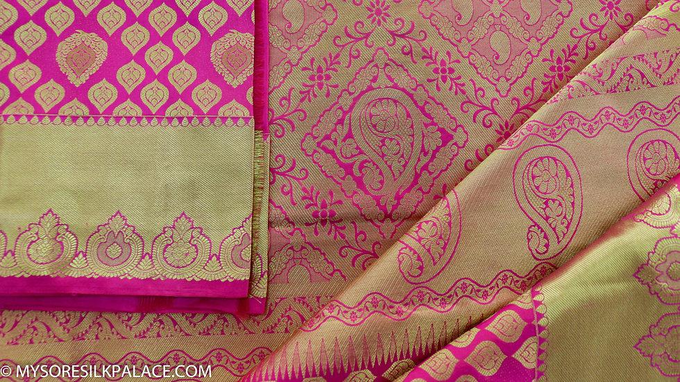 MSP Pink Broket Pure Silk Saree