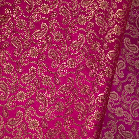 MSP Pink Katan Jacquard Silk Fabric