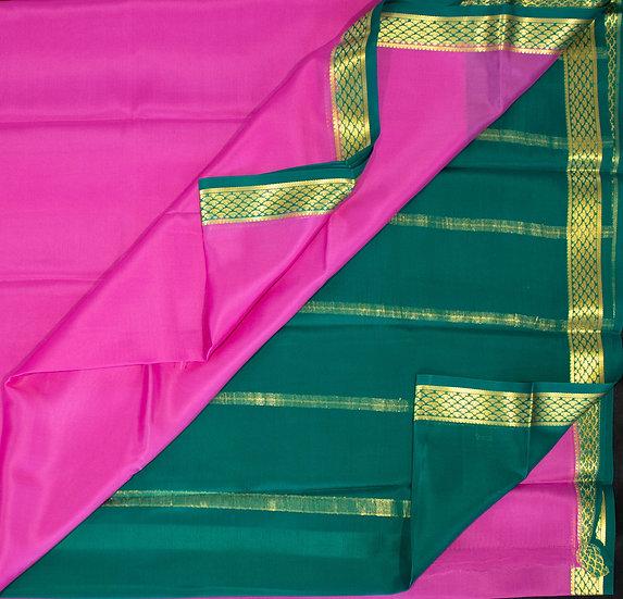 MSP Plain Pink Pure Mysore Silk Saree