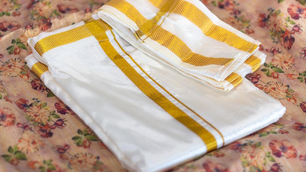 MSP Small Jari Border Silk Velcro Dhothi (Dhothi + Towel)