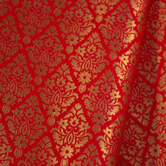 MSP Red Broket Designer Silk Fabric