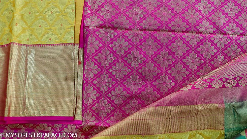 MSP Yellow Multi-Border Pure Silk Saree